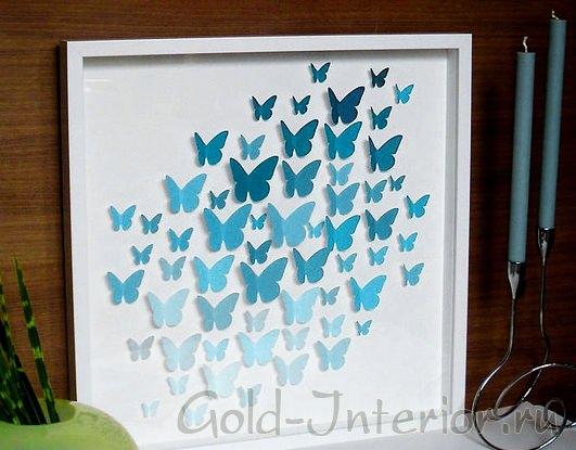 Бабочки в рамке на стену своими руками 80
