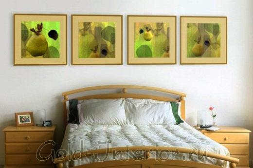 4 картины в спальне