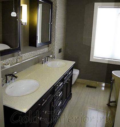 Английский аристократизм в оформлении совмещённой ванны и туалета