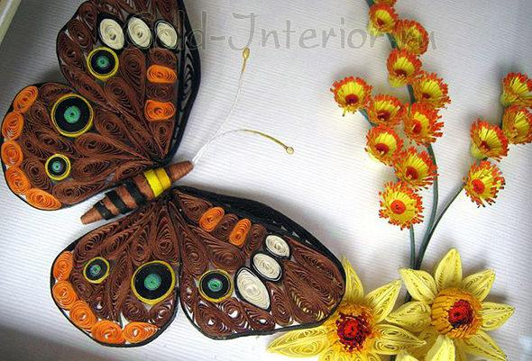 Бабочка выполнена в технике квиллинг