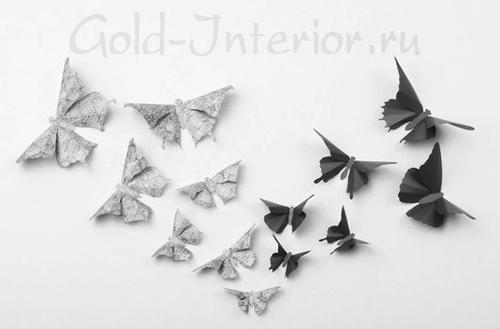 Бабочки из бумаги для стен