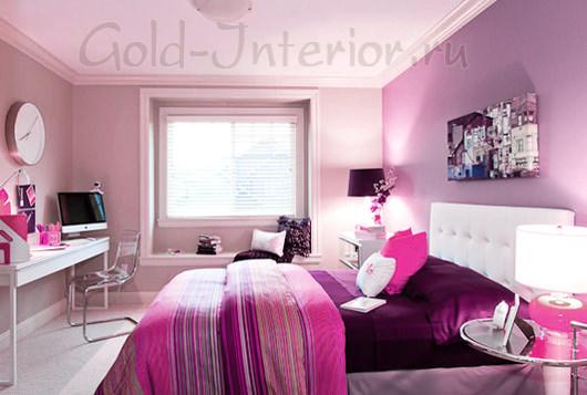 Баклажанный + розовые оттенки в интерьере детской для девочки