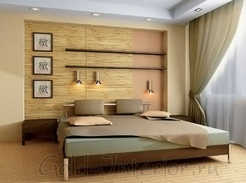 Бамбук и японский стиль в интерьере спальни