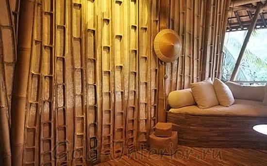 Бамбук в разрезе на стенах