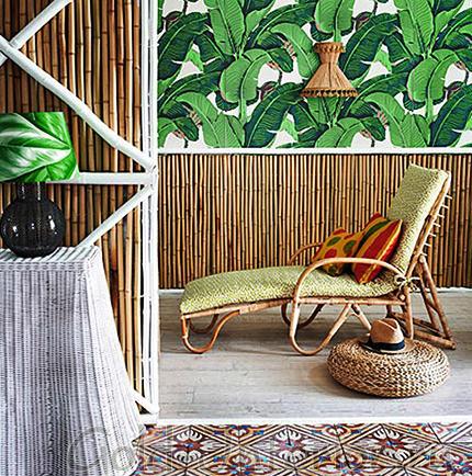 Бамбуковые обои и плетёная мебель
