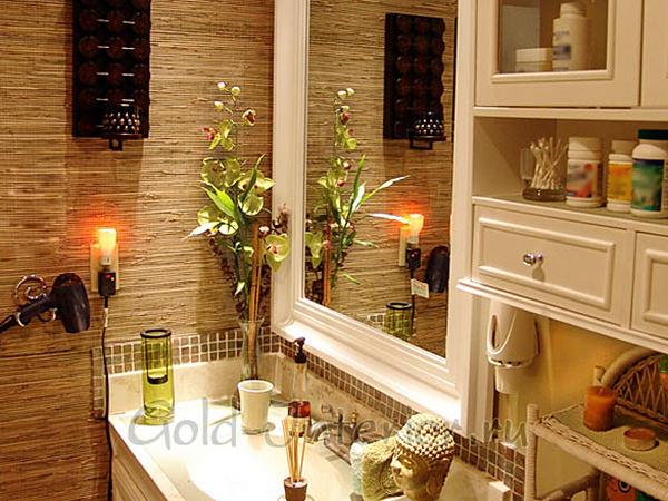 Бамбуковые обои в интерьере ванной
