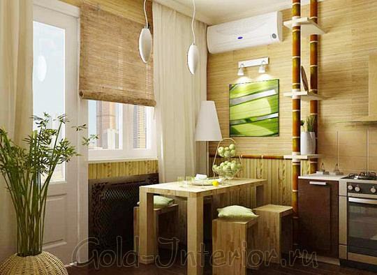 Бамбуковые шторы в декоре кухни