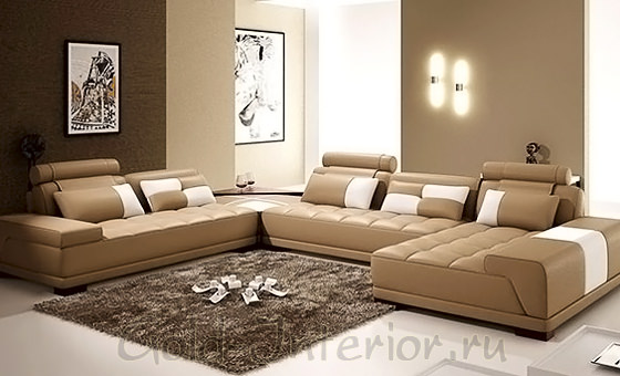Цвет бежевый и оттенки коричневого в гостиной