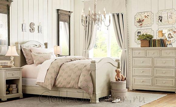 Бежевый цвет и стиль шебби-шик в дизайне спальни