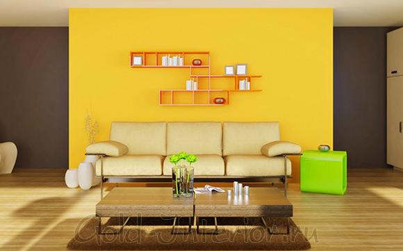 Бежевый диван + жёлтая стена +салатовая тумба
