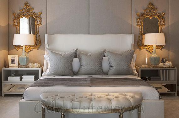 Белая мебель в интерьере серой спальни