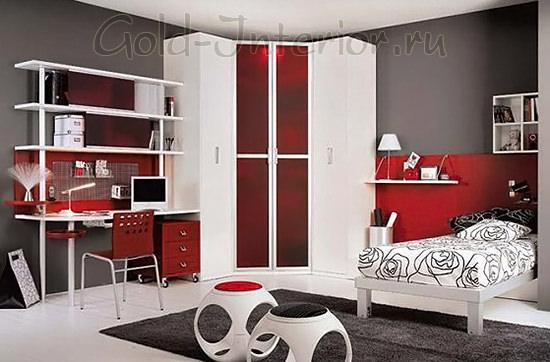 Белая мебель в красно-сером интерьере