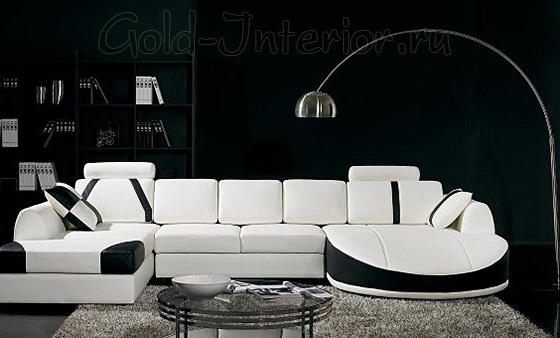 Белый диван + чёрные стены