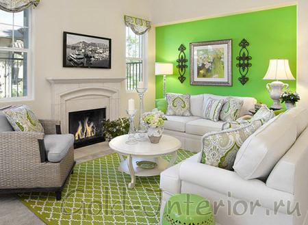 Белый и яркий салатовый цвета в интерьере гостиной