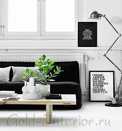 Белый потолок, стены и пол + чёрный диван