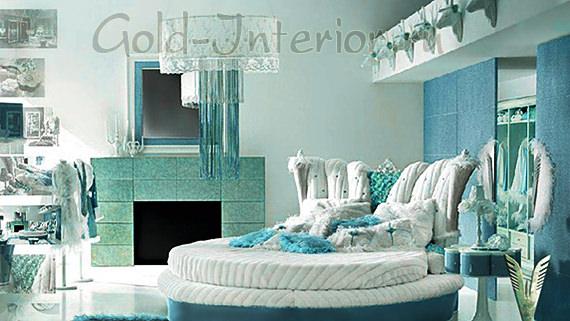 Бело-бирюзовая круглая кровать