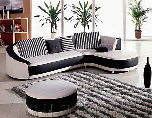 Бело-чёрный угловой диван абстрактной формы