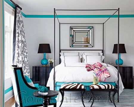 Бирюзовый цвет с чёрным в спальне