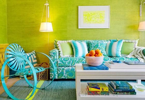 Бирюзовый и салатовый цвета в дизайне комнаты