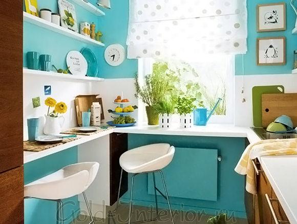 Бирюзовый плюс белый в интерьере кухни