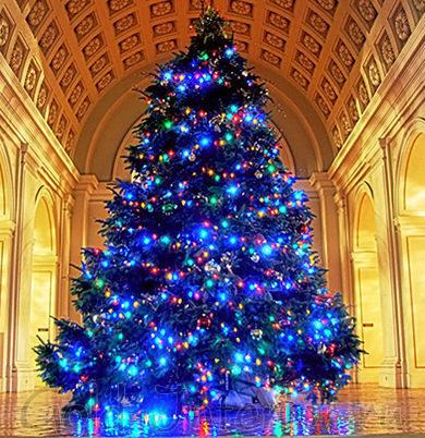Большая синяя ёлка к новому году