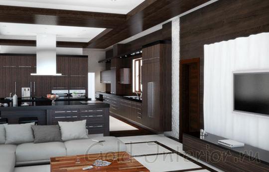 Большая вытяжка в интерьере гостиной-кухни