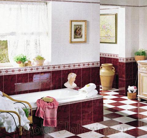 Бордо в сочетании с мраморным белым в ванной комнате
