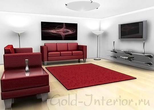Бордовые диваны в интерьере современной гостиной
