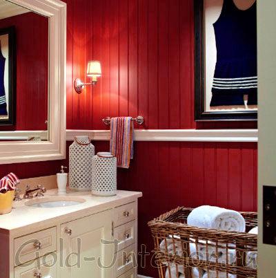 Бордовые панели в оформлении стен в ванной