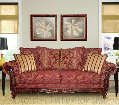 Бордовый диван с золотыми элементами