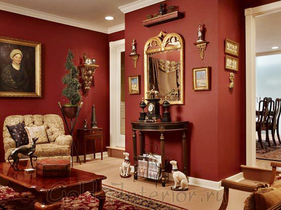 Бордовый интерьер гостиной