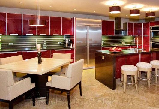 Глянцевый бордовый кухонный гарнитур