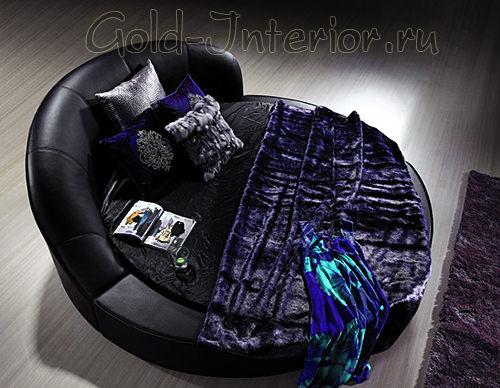 Чёрная кожаная круглая кровать