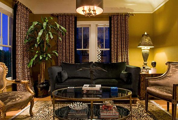 Чёрный диван + золотые кресла
