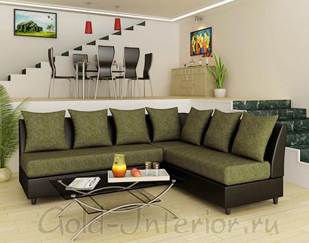 Чёрный каркас у дивана с оливковыми сидениями и подушками