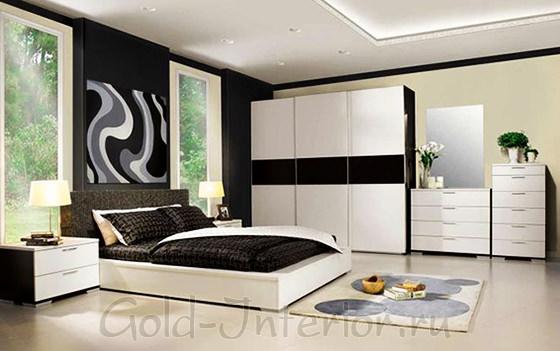 Чёрно-белая мебель в чёрно-белом интерьере