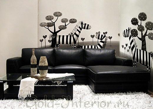 Чёрно-белые фотообои в гостиной