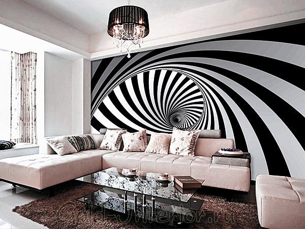Чёрно-белые обои в интерьере
