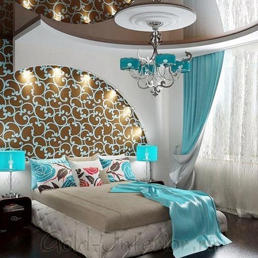 Цвет бирюзы и кофе в элегантном дизайне спальни