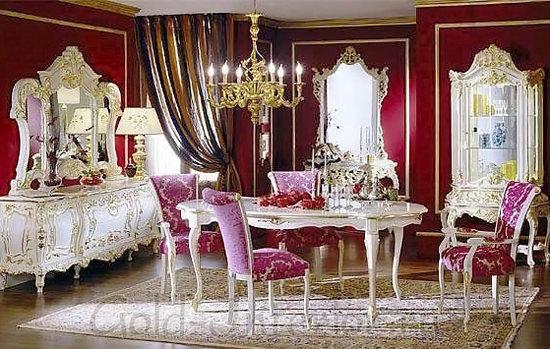 Цвет бургундского вина в интерьере стиля барокко
