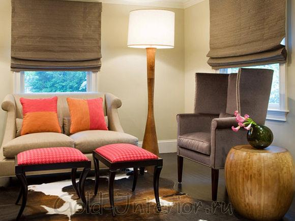 Цвет капучино, вишни и апельсина в декоре гостиной
