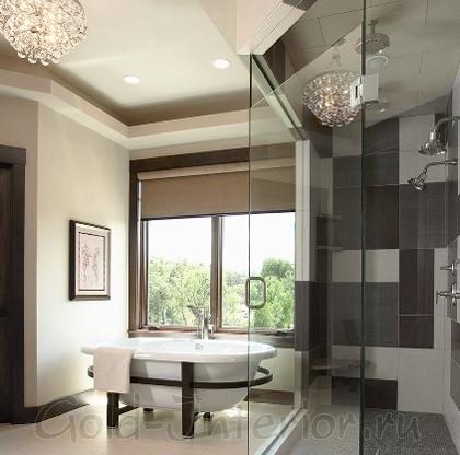 Цвет кофе с молоком + серый в дизайне ванной комнаты