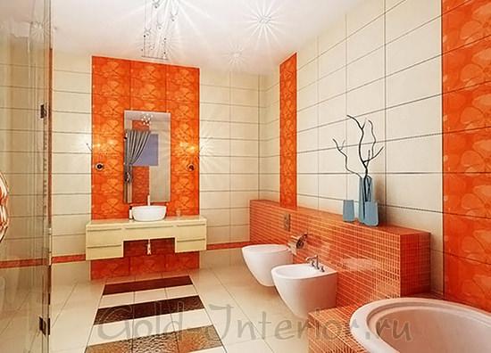 Цвет мандарина и светлый коралловый в интерьере ванной