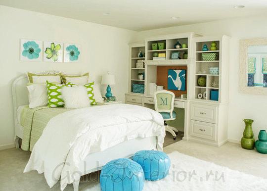Цвет морской волны, молочный и зелёный в дизайне детской комнаты