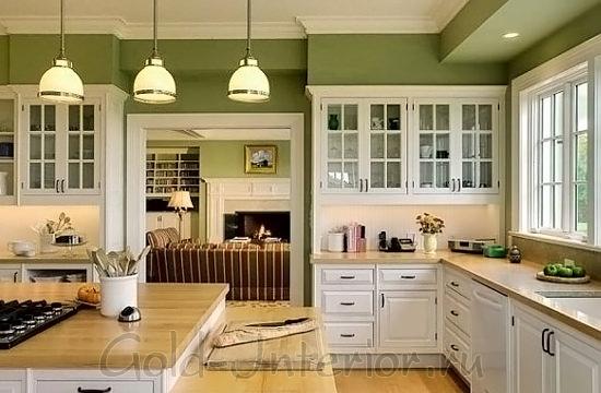 Цвет оливок и карамели в интерьере кухни