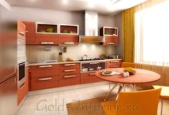 Цвет персика в интерьере кухни