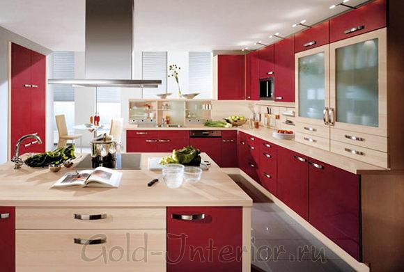 """Цвет """"шампиньон"""" и бордовый в интерьере кухни"""