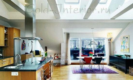Свет в оформлении кухни-гостиной