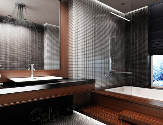 Венге в интерьере ванной комнаты: на кафеле и предметах мебели