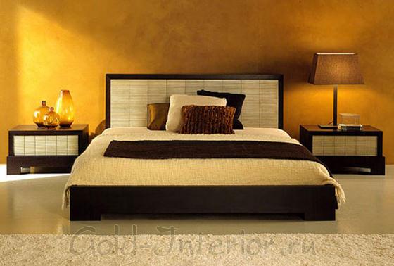 Цвет венге в интерьере спальни: текстиль и элементы мебели